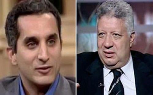 صورة مرتضى منصور يتوعد الاعلامي باسم يوسف