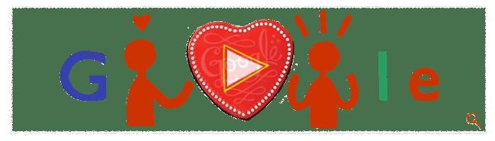 قوقل تحتفل بعيد الحب 14-2-2014 Google On Valentine's Day