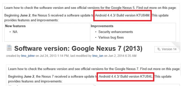 تحديث أندرويد 4.4.3 يصل إلى أجهزة Nexus 5 و Nexus7 من شركة T-Mobile