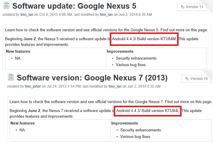 صورة توضحيحة عن تحديث أندرويد 4.4.3