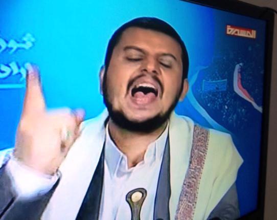 وجه عبوس في خطاب عبدالملك الحوثي اليوم 31-8-2014 في الفرصة الأخيرة