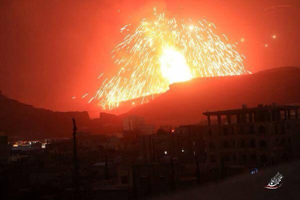 صورة تجدد القصف على مواقع للحوثيين في صنعاء من اخبار اليمن 8 ابريل 2015