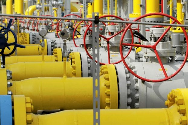 Valves and pipelines are pictured at the Gaz-System gas distribution station in Gustorzyn, central Poland