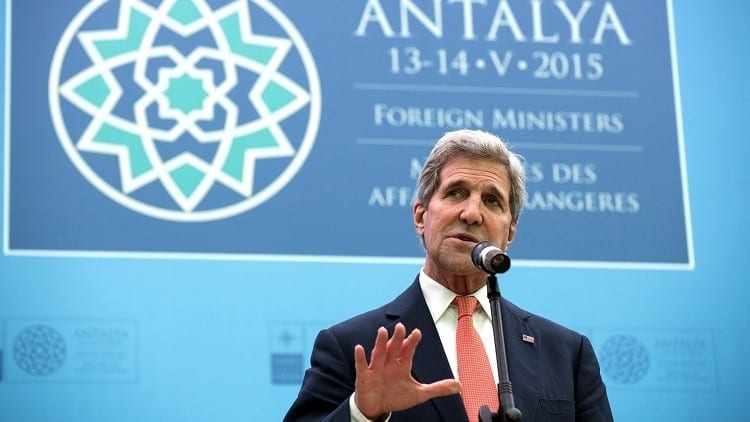 U.S. Secretary of State John Kerry speaks at the NATO Foreign Minister's Meeting in Antalya, Turkey May 13, 2015. REUTERS/Joshua Roberts - RTX1CPUC