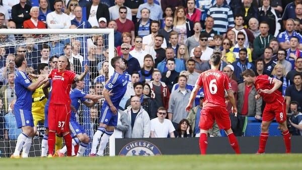 "Football - Chelsea v Liverpool - Barclays Premier League - Stamford Bridge - 10/5/15 Steven Gerrard scores the first goal for Liverpool Action Images via Reuters / John Sibley Livepic EDITORIAL USE ONLY. No use with unauthorized audio, video, data, fixture lists, club/league logos or ""live"" services. Online in-match use limited to 45 images, no video emulation. No use in betting, games or single club/league/player publications.  Please contact your account representative for further details."