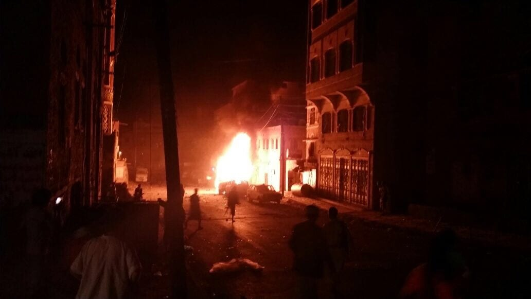 قناة المسيرة إنفجار سيارة مفخخة في الجراف بالقرب من مسجد المؤيد