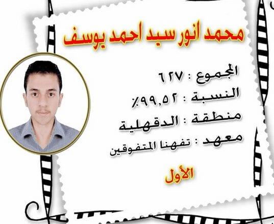 محمد أنور نتيجة الثانوية الازهرية الثاني