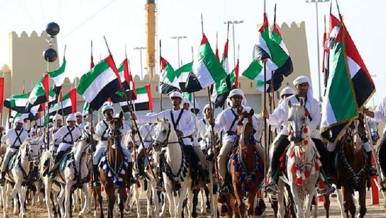 Photo of خادم الحرمين الشريفين الملك سلمان يشارك قيادة الإمارات في إحتفال مسيرة الإتحاد في اليوم الوطني 45