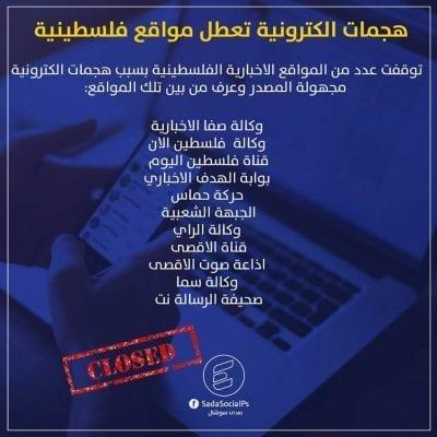 اختراق المواقع الإخبارية الفلسطينية من قبل مجهولين - الصفحة العربية