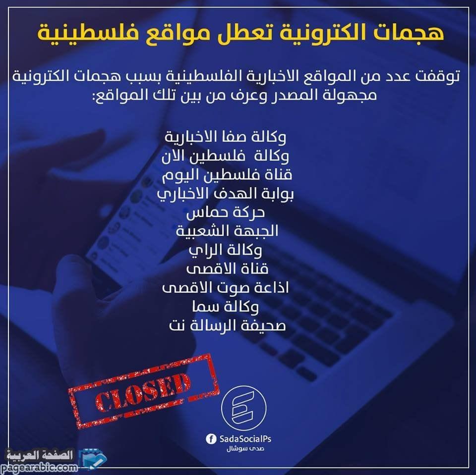 صورة اختراق المواقع الإخبارية الفلسطينية من قبل مجهولين