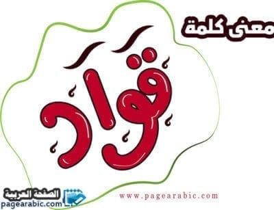معنى كلمة قواد باللهجة السعودية - الصفحة العربية