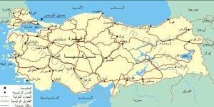 خريطة تركيا 2020 مع شرح بالعربي لخريطة التركية